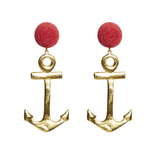 Load image into Gallery viewer, KEP Motif Anchor Earring Gold
