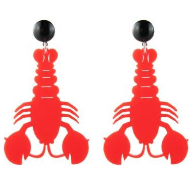 Lobster Drop Earrings Red