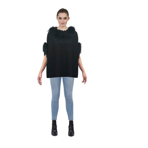 Love Token Carla Faux Suede with Fur Trim Poncho Black