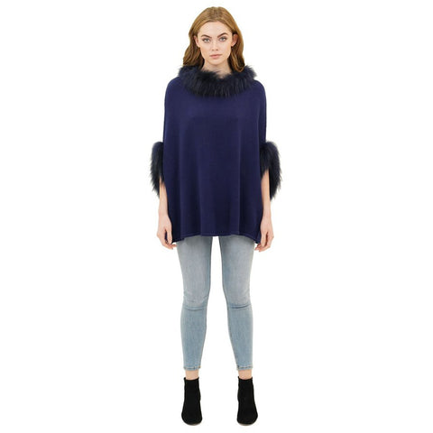 Love Token Walter Poncho with Raccoon Fur Trim Cobalt