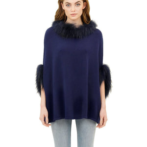Load image into Gallery viewer, Love Token Walter Poncho with Raccoon Fur Trim Cobalt