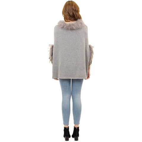 Love Token Walter Poncho with Raccoon Fur Trim Light Grey