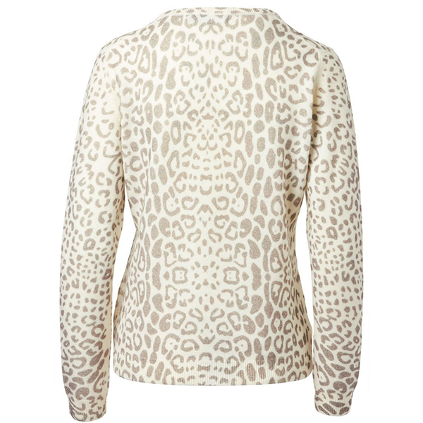 Brodie Cashmere Leopard Print Sweater Organic White/Grey