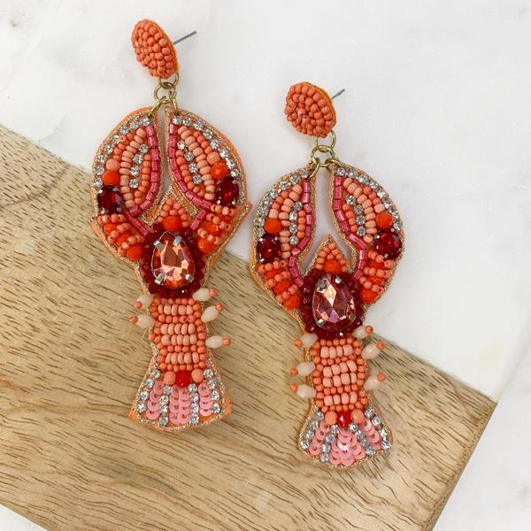 Lobster Sequin Statement Earrings Coral
