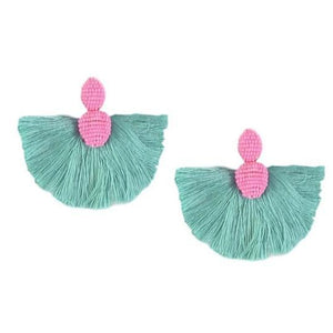 St. Armands Flamingo Fan Tassel Earrings