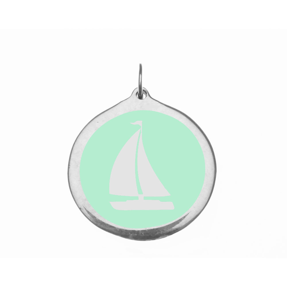 Large Mint Sailboat Charm