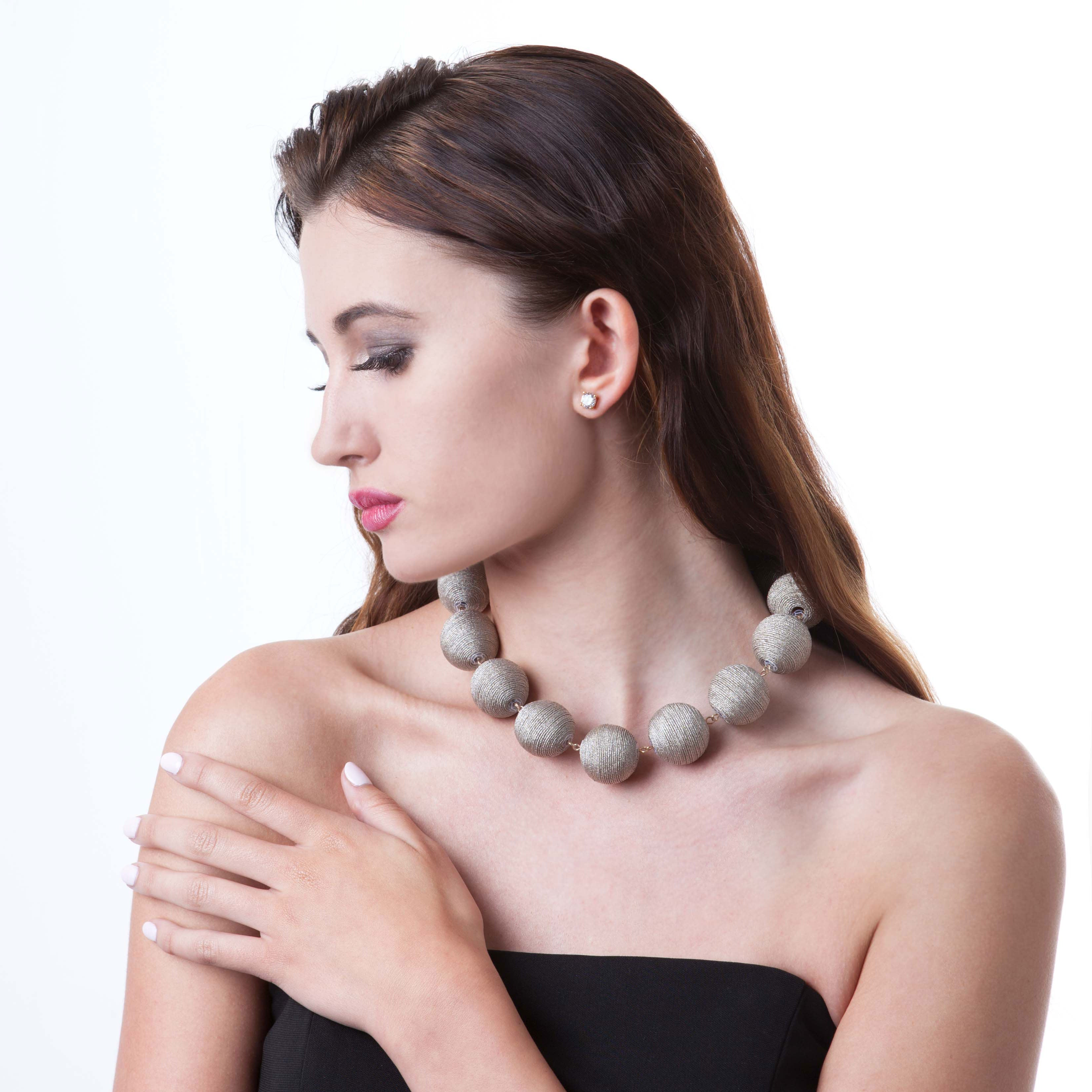 Wellington Pom Statement Necklace Ice Blue
