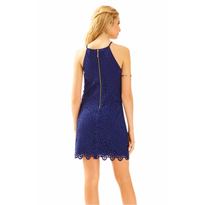 Load image into Gallery viewer, Lilly Pulitzer Pearl Shift Dress True Navy Laser Cut Scuba