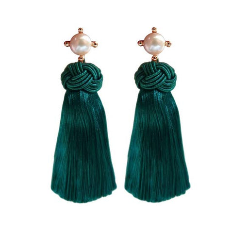 Pearl Tassel Earrings Emerald