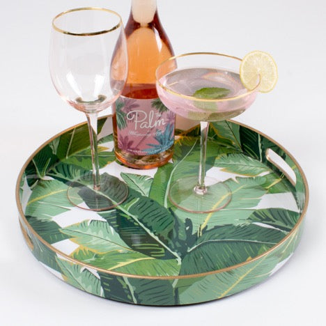 Palm Leaf Round Tray