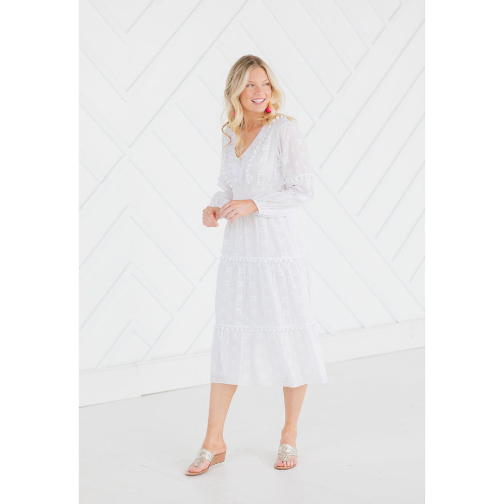 Sail To Sable Cotton Jacquard Embroidered Pom Pom Midi Dress