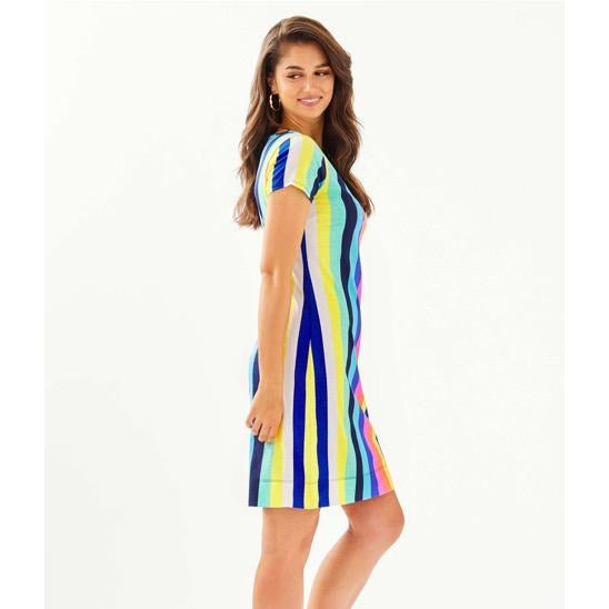 Lilly Pulitzer Marlowe Boatneck T-Shirt Dress Multi Lillys Rainbow Stripe