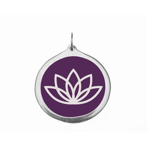 Large Purple Lotus Flower Charm