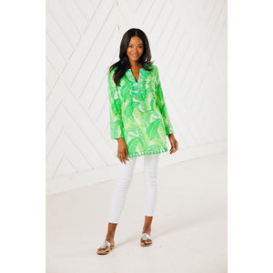 Load image into Gallery viewer, Sail To Sable Tassel Tunic Top Palm Print