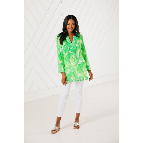 Sail To Sable Tassel Tunic Top Palm Print