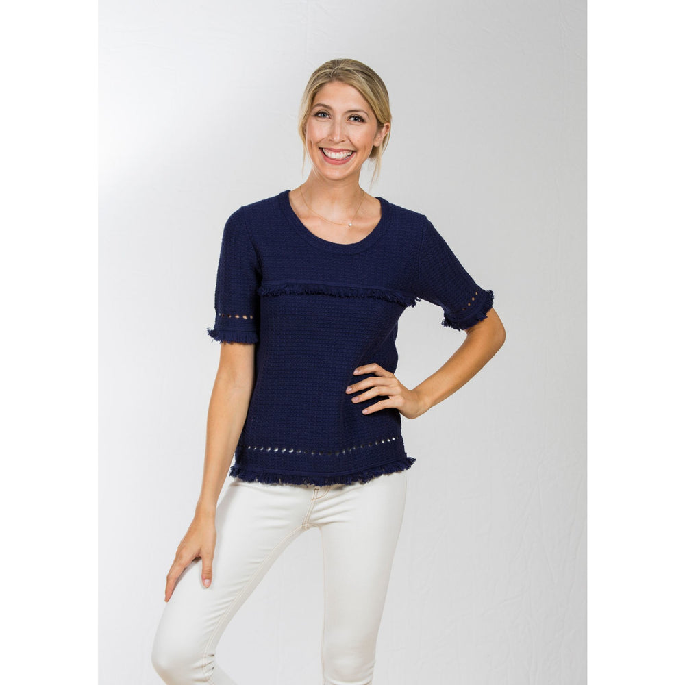 Two Bees Tilly Fringe Tee Navy