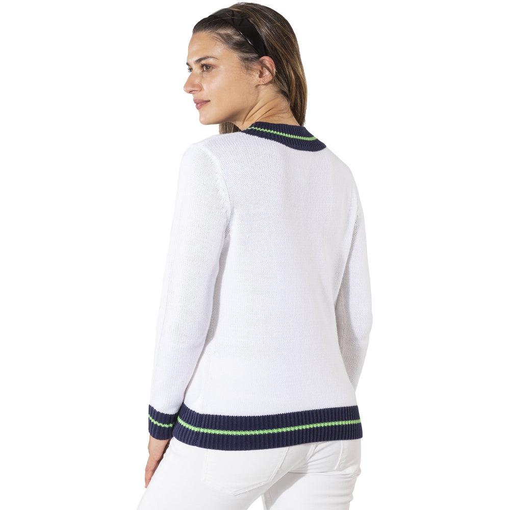 Sail To Sable Long Sleeve Varsity Sweater White/Green