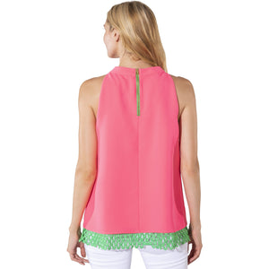 Sail To Sable Poly Crepe Halter Top Hibiscus