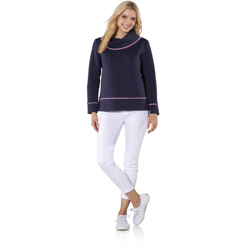 92c7a2abfaa Quick view · Sail To Sable Textured Knit Long Sleeve Pullover Navy/Pink ...