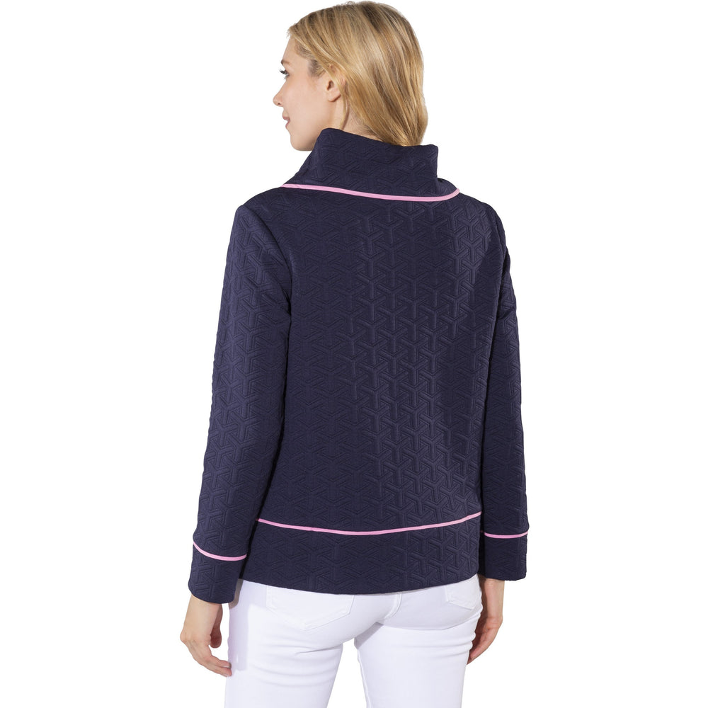 Sail To Sable Textured Knit Long Sleeve Pullover Navy/Pink