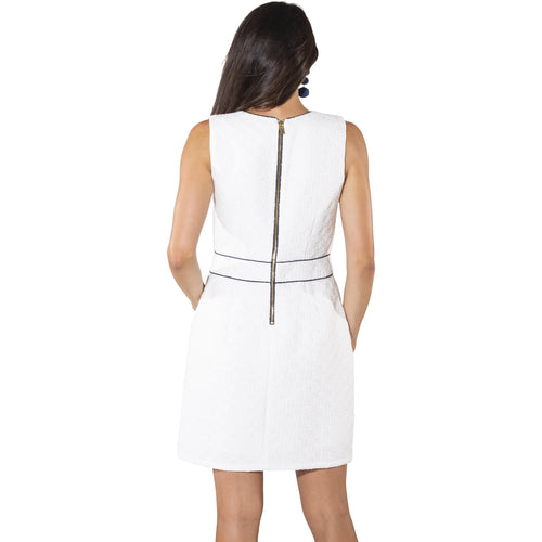 Sail To Sable Textured Tweed Sleeveless Shift Dress White