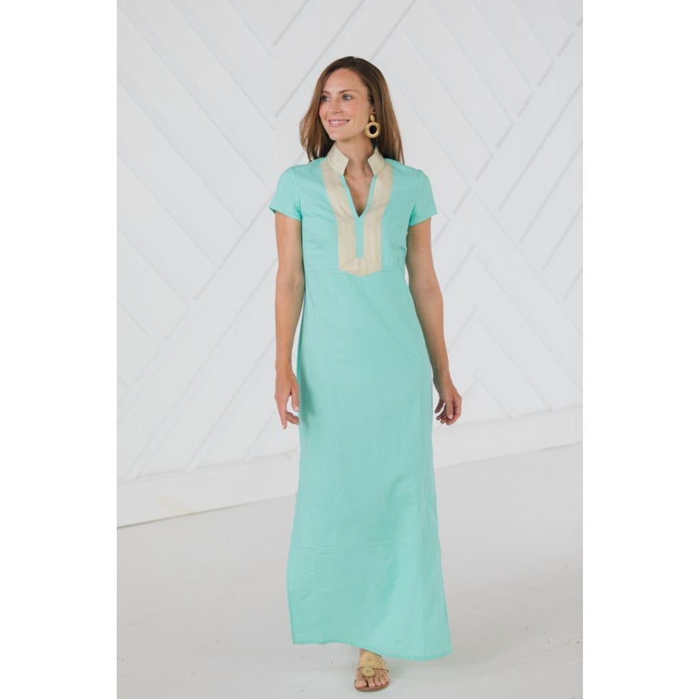 Sail to Sable Short Sleeve Maxi Tunic Dress