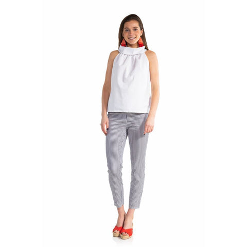 Sail To Sable Oxford Cowl Neck Top White