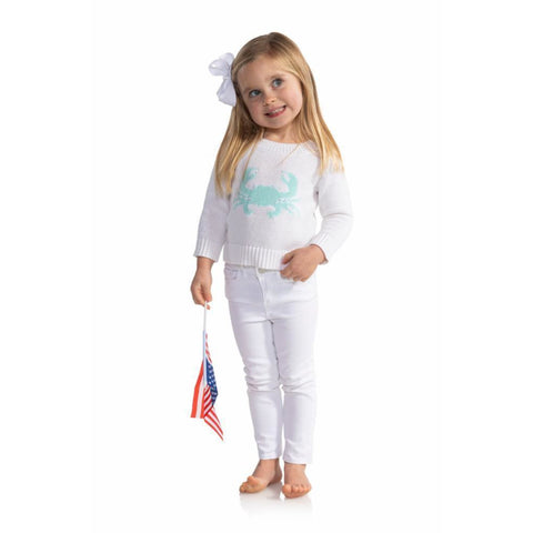 Sail To Sable Kids Intarsia Sweater Crab White/Aqua