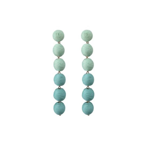 "St. Armands Designs of Sarasota Caicos ""All Day"" Pom Pom Earrings Blue Ombre"