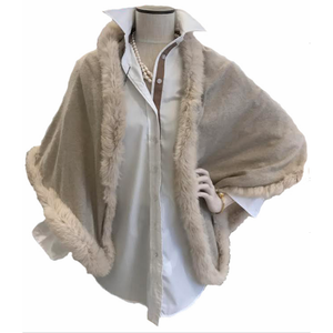 Load image into Gallery viewer, Cortland Park Ruffle Wrap With Fur Beige/Beige