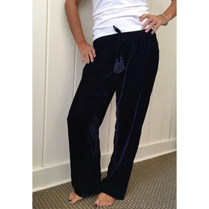 Load image into Gallery viewer, Madison Mathews Velvet Pant Navy