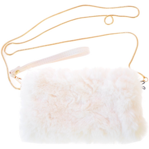 Load image into Gallery viewer, Faux Fur Crossbody Clutch Ivory
