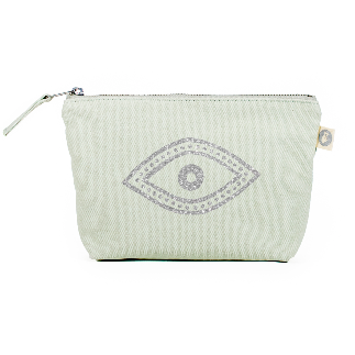 Load image into Gallery viewer, Quilted Koala Makeup Bag Silver Glitter Eye/Seagrass Green