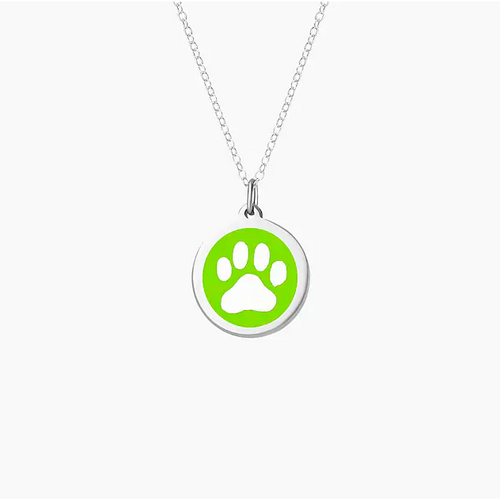 Large Lime Green Paw Print Charm