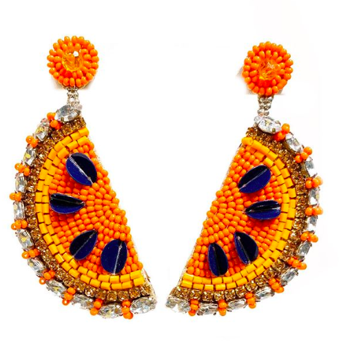 Sugar Beaded Slice Earrings Orange