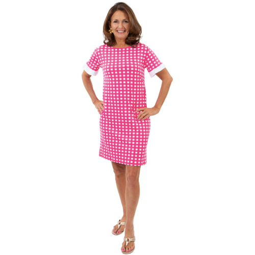 Sailor Sailor Coco Dress Picnic Check Hot Pink/White