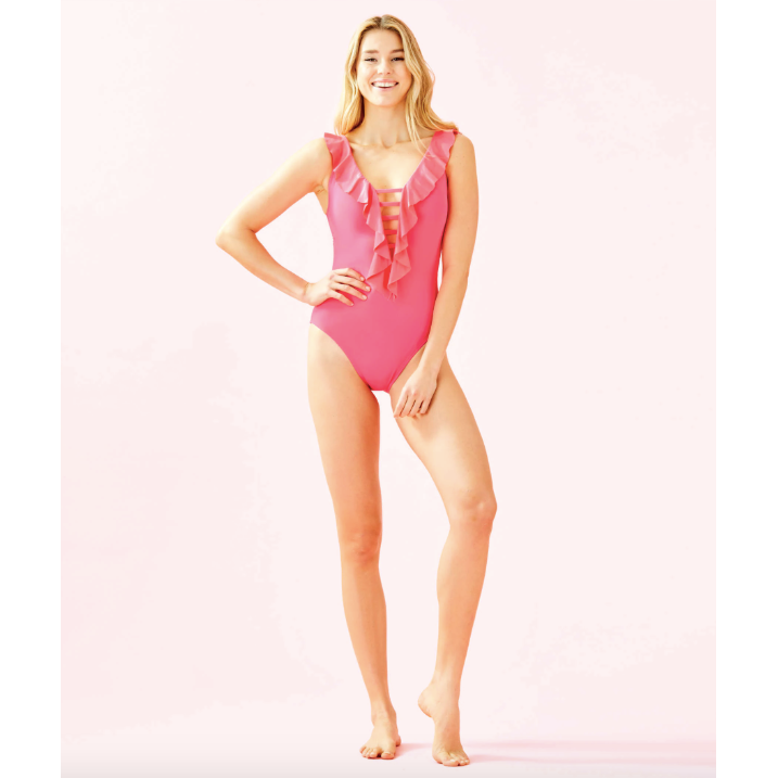 Lilly Pulitzer Carmen One-Piece Swimsuit Crab Claw Coral