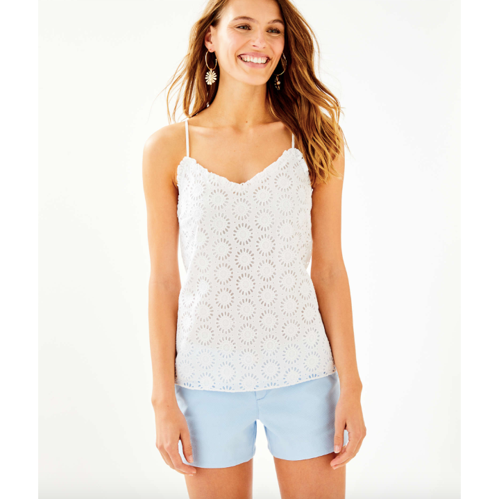 Lilly Pulitzer Dusk Ruffled Tank Top Resort White Sunshine Eyelet