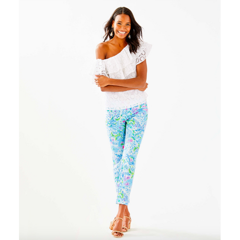 "Lilly Pulitzer 27"" Kelly Skinny Stretch Crop Pant Multi What A Lovely Place"