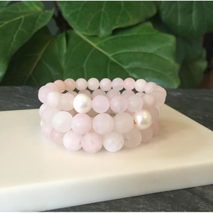 Load image into Gallery viewer, MVF Gemstone Stretch Bracelet Rose Quartz and Pearl