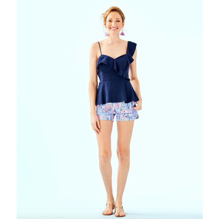 Lilly Pulitzer Auria One-Shoulder Top True Navy