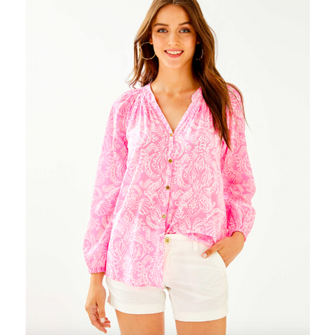 Lilly Pulitzer Elsa Button Down Top Havana Pink Clawdia