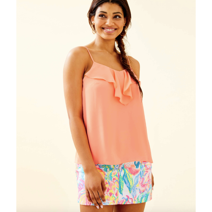 Load image into Gallery viewer, Lilly Pulitzer Karmen Cami Peach Flamingo