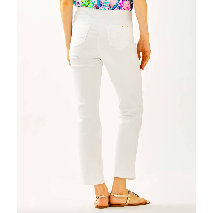 "Lilly Pulitzer 28"" Ocean Cay High Rise Crop Flare Pant Resort White"