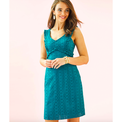 Lilly Pulitzer Kaylee Shift Dress Tanzanian Teal Petite Petal Eyelet