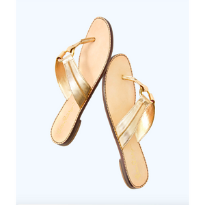 Load image into Gallery viewer, Lilly Pulitzer McKim Sandal Gold Metallic