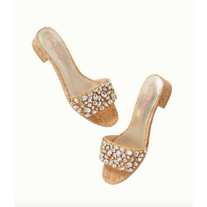 Load image into Gallery viewer, Lilly Pulitzer Trish Crystal Slide Sandal Natural