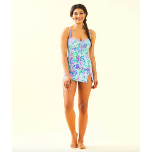 Lilly Pulitzer Hibiscus Tankini Top Blue Oasis Tint Swim Shady
