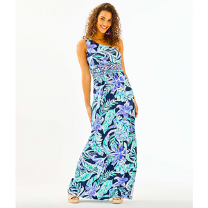 Lilly Pulitzer Malia One-Shoulder Maxi Dress High Tide Navy Ready Set Gecko Engineered