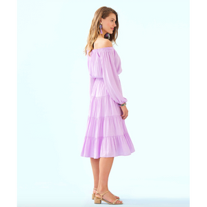 Load image into Gallery viewer, Lilly Pulitzer Jennie Off-The-Shoulder Midi Dress Lilac Freesia Dotty Satin